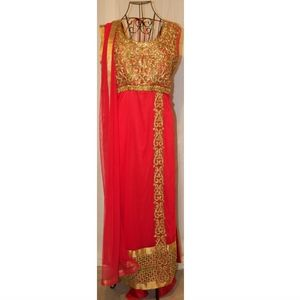 Pink Fuchsia with Gold Details Salwar Pant Suit